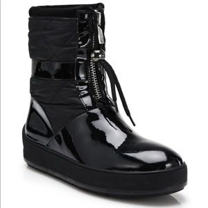 Aquatalia black Kali patent leather quilted boots